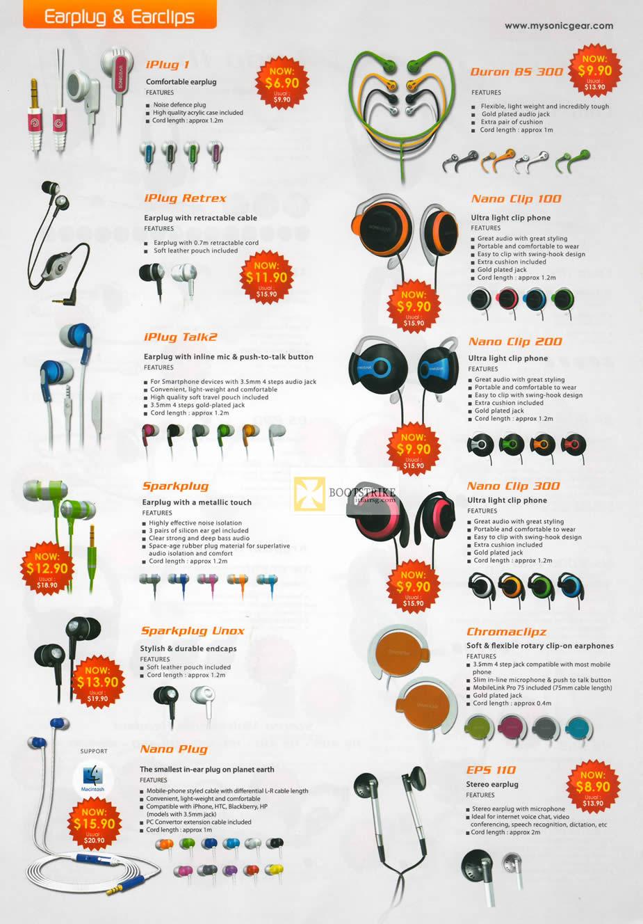 IT SHOW 2012 price list image brochure of Leap Frog Sonicgear Earplug Earclips IPlug 1, Retrex, Talk2, Duron BS 300, Nano Clip 100, Clip 200, Sparkplug, Unox, EPS 110