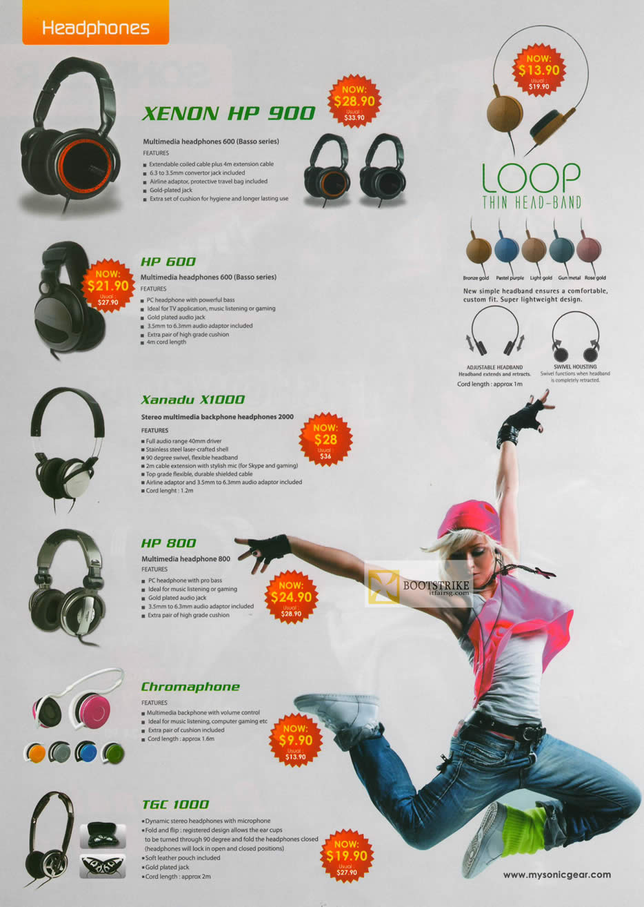 IT SHOW 2012 price list image brochure of Leap Frog Sonicgear Headphones Xenon HP 900, HP 600, Xanadu X1000, Chromaphone, TGC 1000