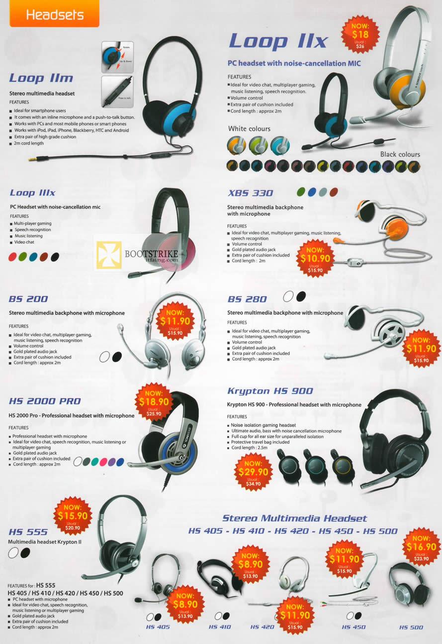 IT SHOW 2012 price list image brochure of Leap Frog Sonicgear Headsets Loop IIx, Loop IIm, Loop IIIx, XBS 330, BS 280, BS 200, HS 2000 Pro, Krypton HS 900, HS 555