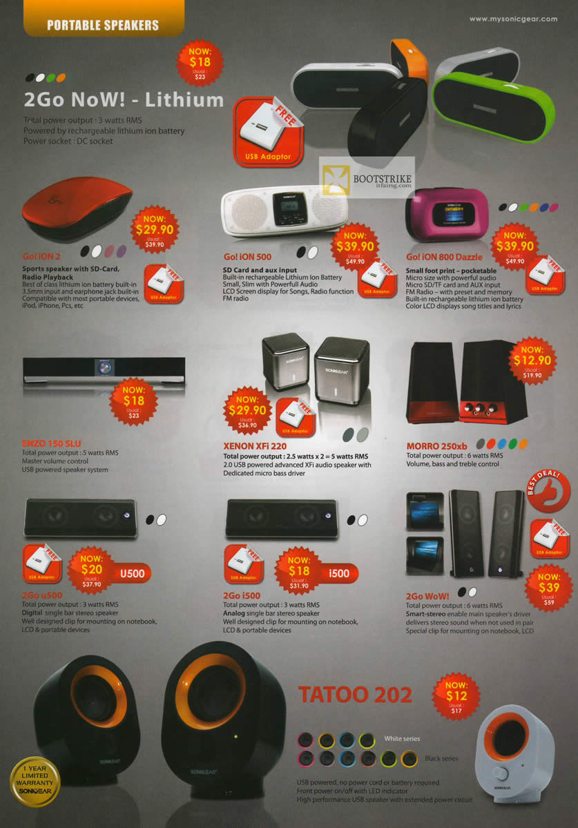 IT SHOW 2012 price list image brochure of Leap Frog Sonicgear Portable Speakers Go Ion 2, Ion 500, 800 Dazzle, Enzo 150 SLU, Xenon Xfi 220, Morro 250xb, 2Go U500, I500, 2Go WoW, Tatoo 202