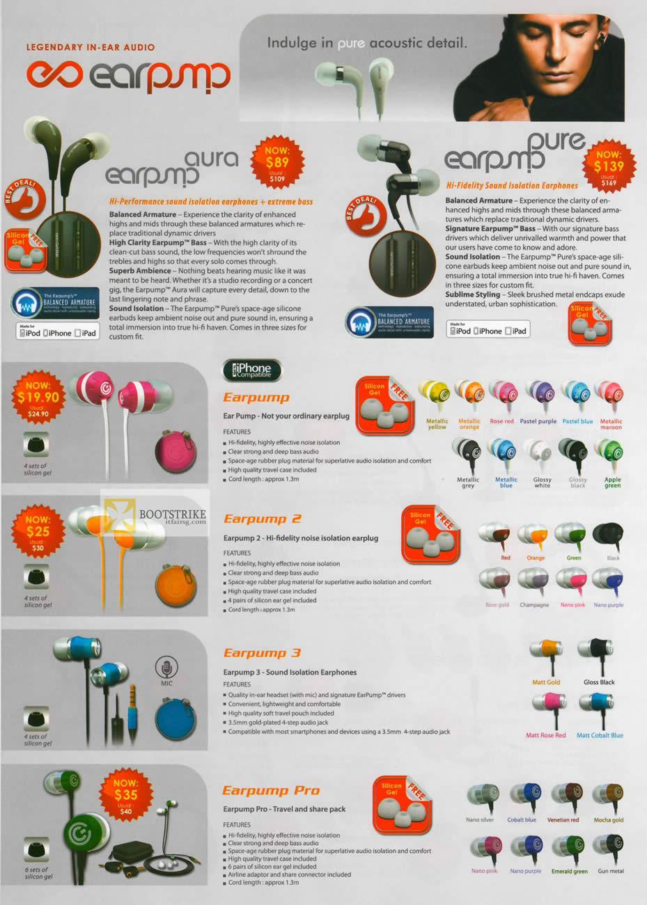 IT SHOW 2012 price list image brochure of Leap Frog Sonicgear Pure Earphones, Earpump 2, 3, Pro