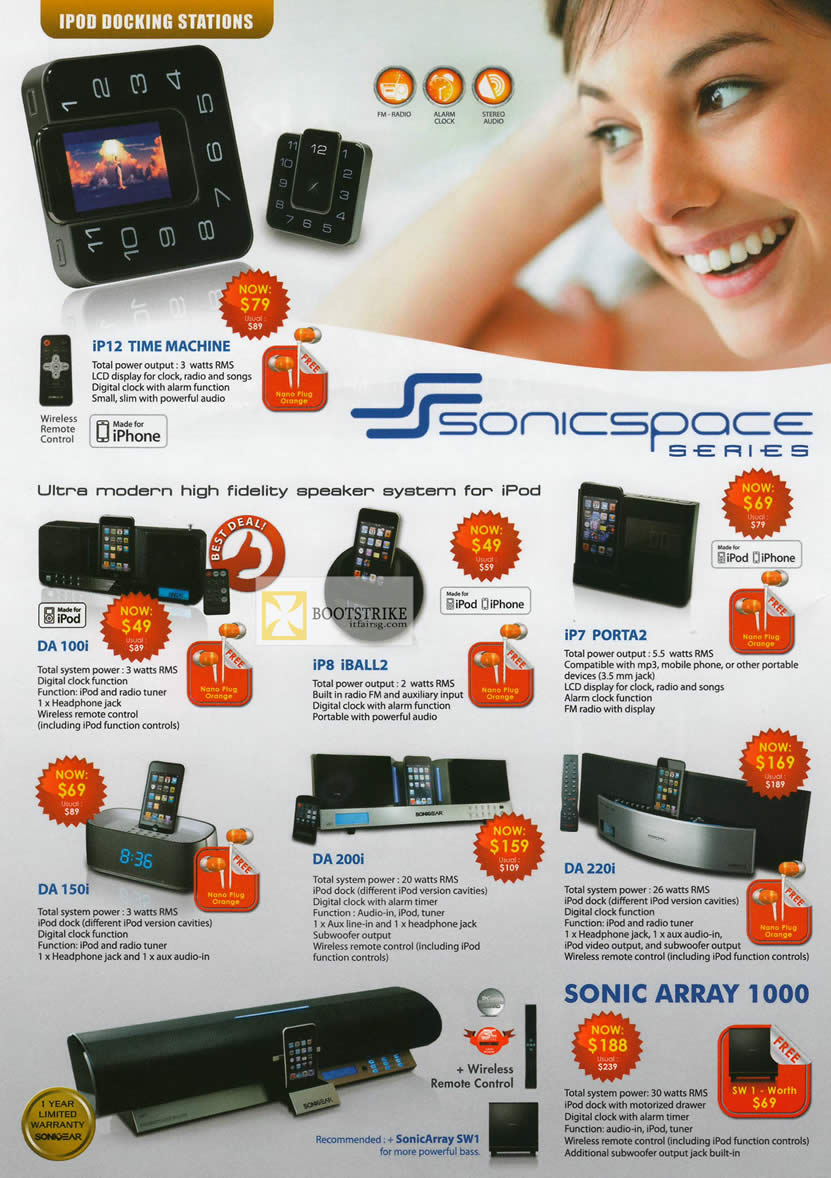 IT SHOW 2012 price list image brochure of Leap Frog Sonicgear IPod Docking Station, IP12 Time Machine, DA 100i, IP8 IBall2, IP7 Porta2, DA 150i, DA 200i, DA 220i, Sonic Array 1000