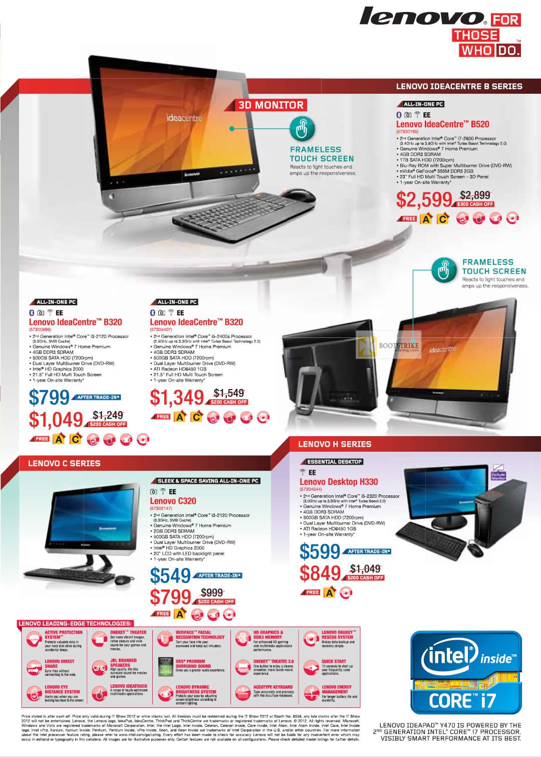 IT SHOW 2012 price list image brochure of Lenovo AIO Desktop PC IdeaCentre B320, B520, C320, Desktop PC H330