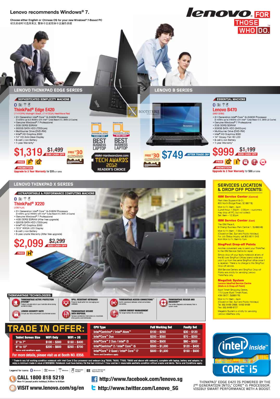 IT SHOW 2012 price list image brochure of Lenovo Notebooks Thinkpad Edge E420, B470, X220, Trade In