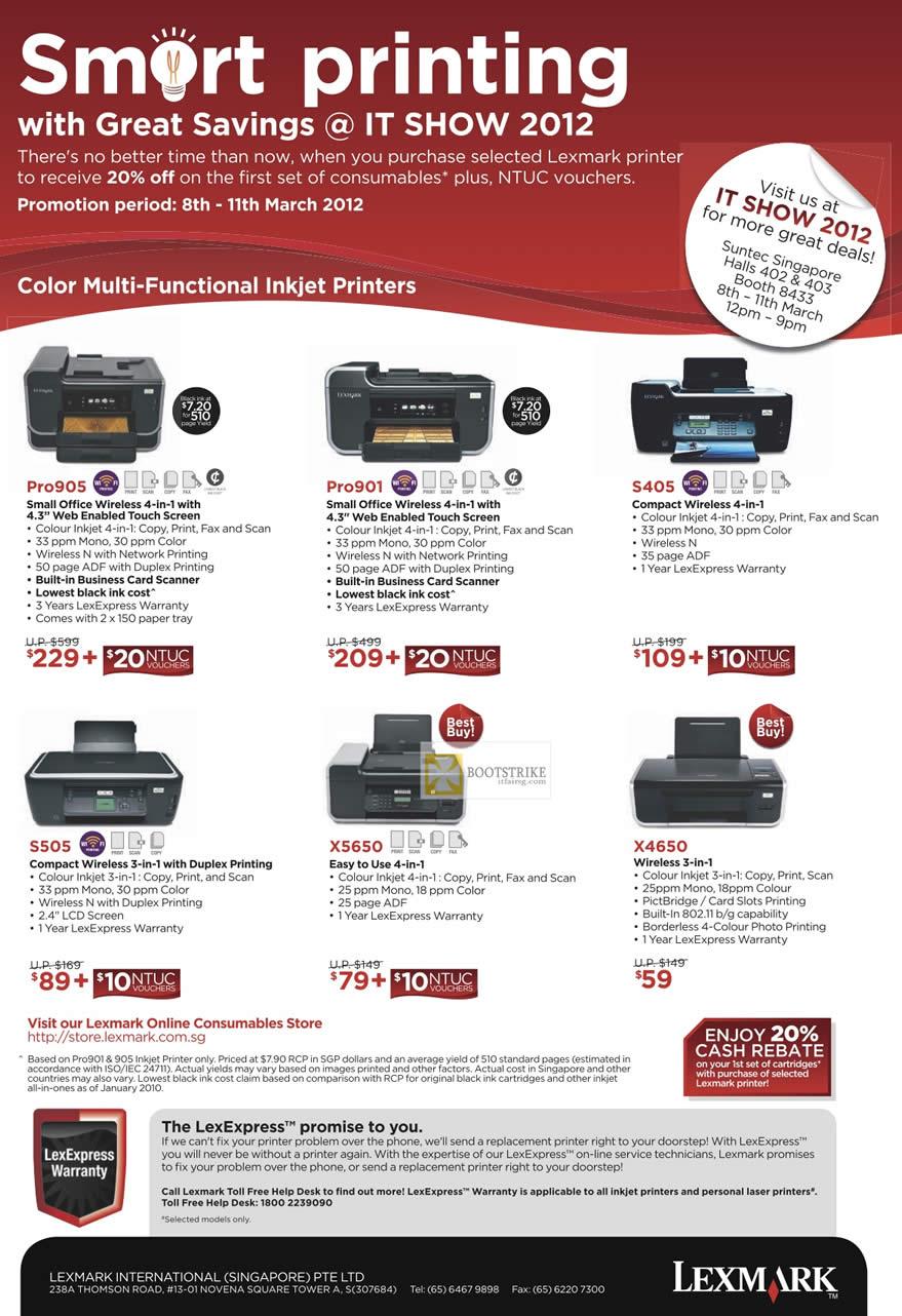 IT SHOW 2012 price list image brochure of Lexmark Printers Inkjet Pro905, Pro901, S405, S505, X5650, X4650