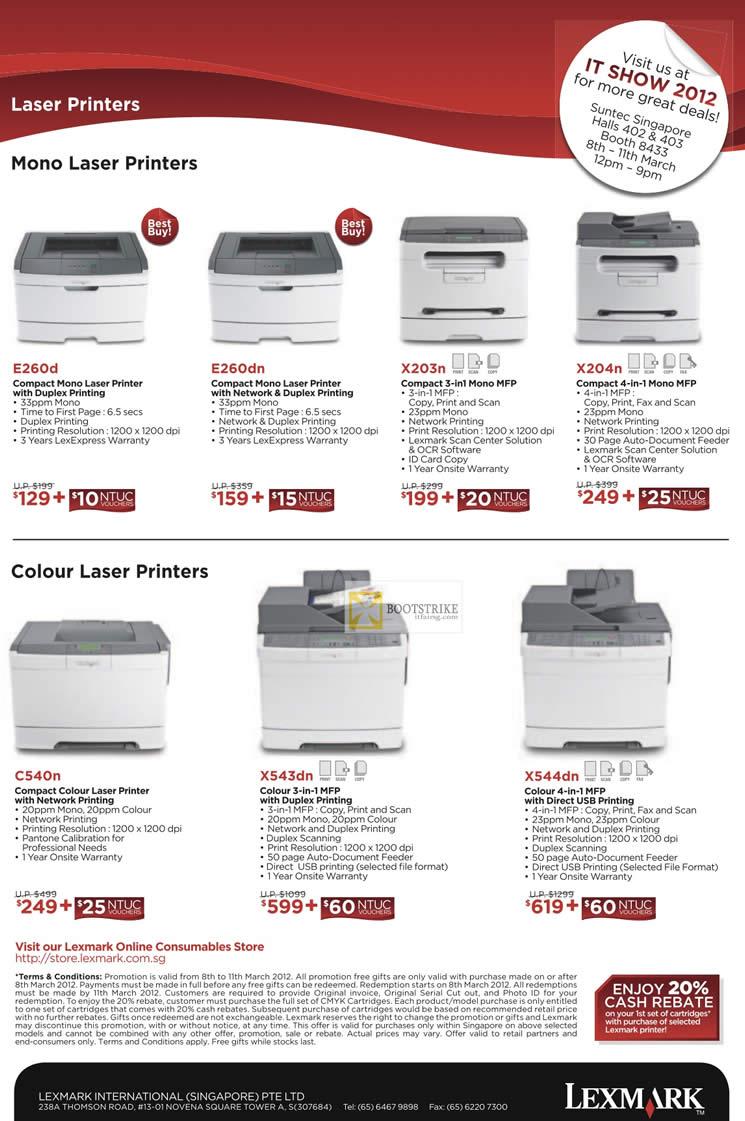 IT SHOW 2012 price list image brochure of Lexmark Printers Laser E260d, E260dn, X203n, X204n, C540n, X543dn, X544dn