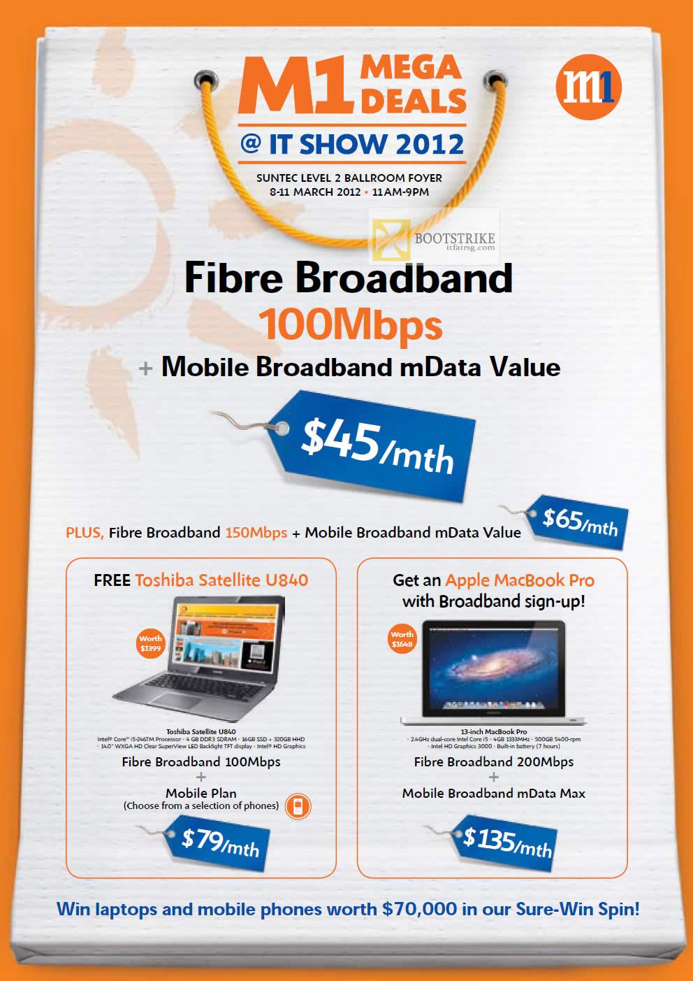 IT SHOW 2012 price list image brochure of M1 Broadband Fibre 100Mbps, MData Value, Toshiba Satellite U840 Notebook, Apple MacBook Pro, 200Mbps