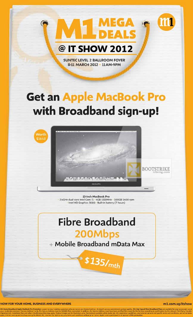 IT SHOW 2012 price list image brochure of M1 Broadband Fibre 200mbps Apple Macbook Pro