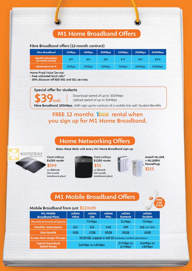 IT SHOW 2012 price list image brochure of M1 Broadband, Fibre, Fixed Voice, Students, Cisco Linksys E4200 Router, E1200, Aztech HL110E HL110EW HomePlug, Mobile Broadband MData