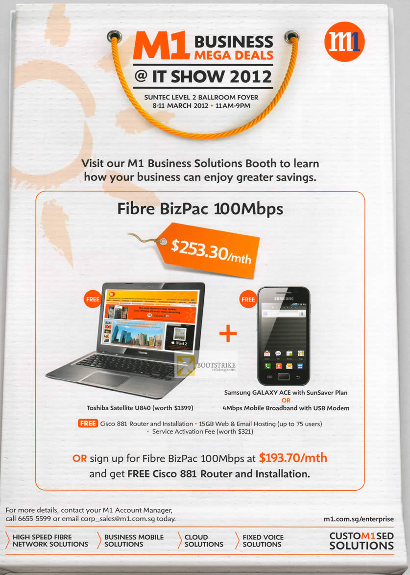 IT SHOW 2012 price list image brochure of M1 Business Fibre BizPac 100Mbps, Free Toshiba Satellite U840, Samsung Galaxy Ace, 100Mbps, Cisco 881 Router