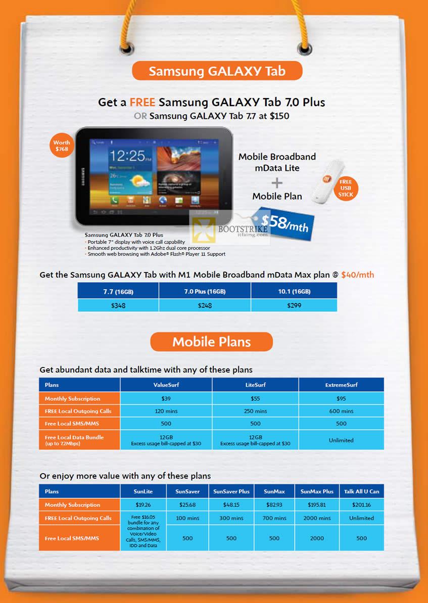IT SHOW 2012 price list image brochure of M1 Mobile Broadband MData Lite Free Samsung Galaxy Tab 7.0 Plus, Galaxy Tab 7.7, Mobile Plans, ValueSurf, LiteSurf, SunLite, SunSaver