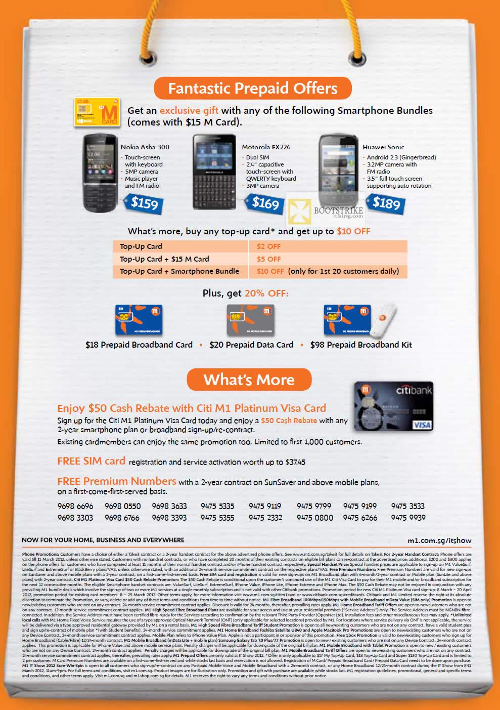 IT SHOW 2012 price list image brochure of M1 Mobile Nokia Asha 300, Motorola EX226, Huawei Sonic, Prepaid Broadband, Data Card, Citibank