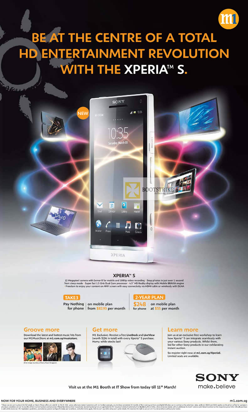 IT SHOW 2012 price list image brochure of M1 Mobile Sony Xperia S