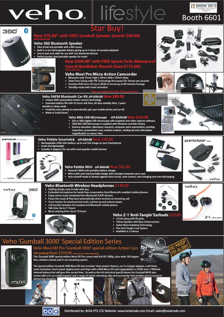 IT SHOW 2012 price list image brochure of Mojito Veho 360 Bluetooth Speaker, Muvi Pro Camcorder, Saem Bluetooth Car Kit, USB Microscope, Pebble Smartstick, Mini, Headphone, Earbud, Gumball 3000
