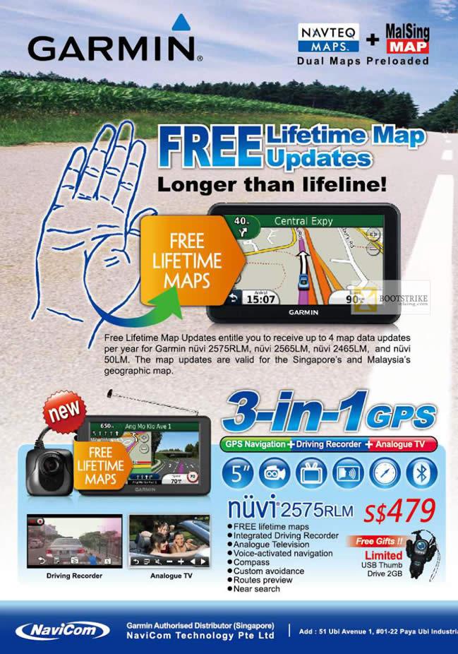 IT SHOW 2012 price list image brochure of Navicom Garmin GPS Free Lifetime Map Updates, 3 In 1 GPS Nuvi 2575RLM