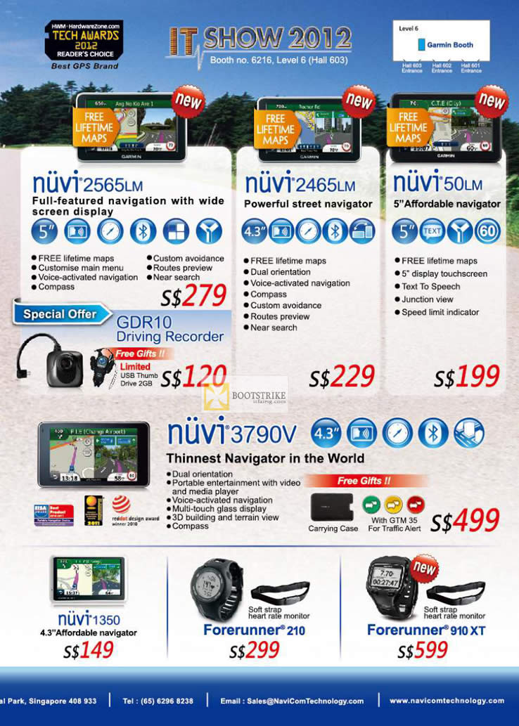 IT SHOW 2012 price list image brochure of Navicom Garmin GPS Nuvi 2565LM, 2465LM, 50LM, 3790V, 1350, Forerunner 210, 910 XT