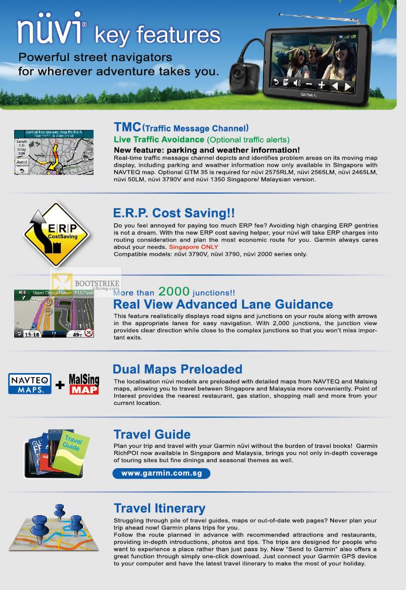 IT SHOW 2012 price list image brochure of Navicom Garmin GPS Nuvi Features, TMC, ERP, Lane Guidance, Dual Maps, Travel Guide