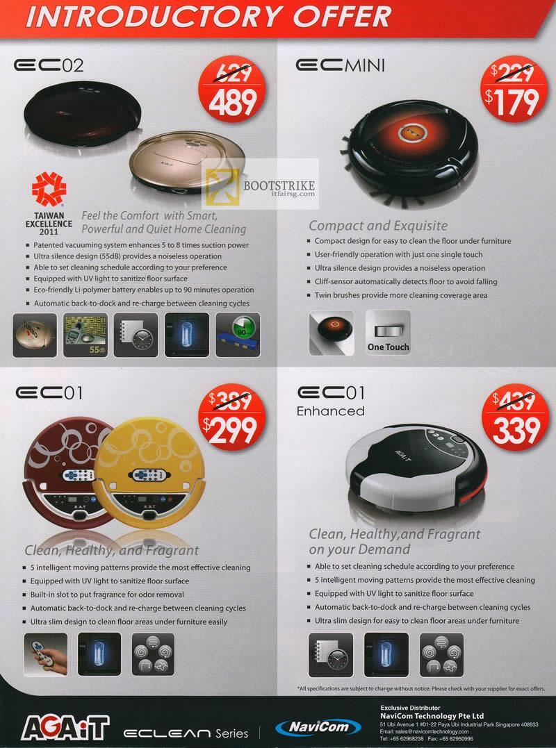 IT SHOW 2012 price list image brochure of Navicom Robotic Vacuum Cleaner EC02, EC Mini, EC01, EC01 Enhanced