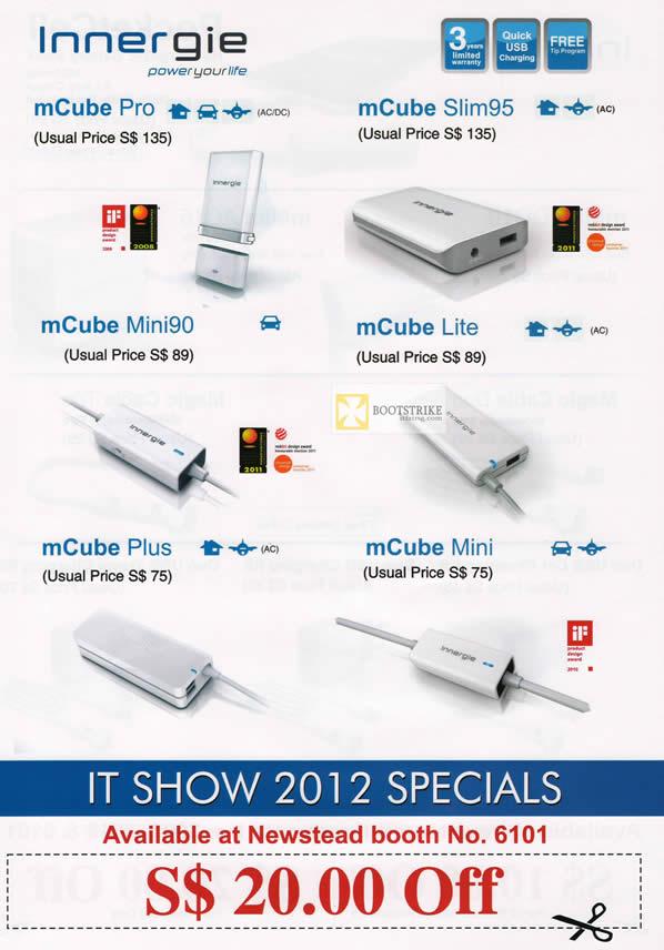 IT SHOW 2012 price list image brochure of Newstead Innergie MCube Pro, SLim95, Lite, Plus, Mini