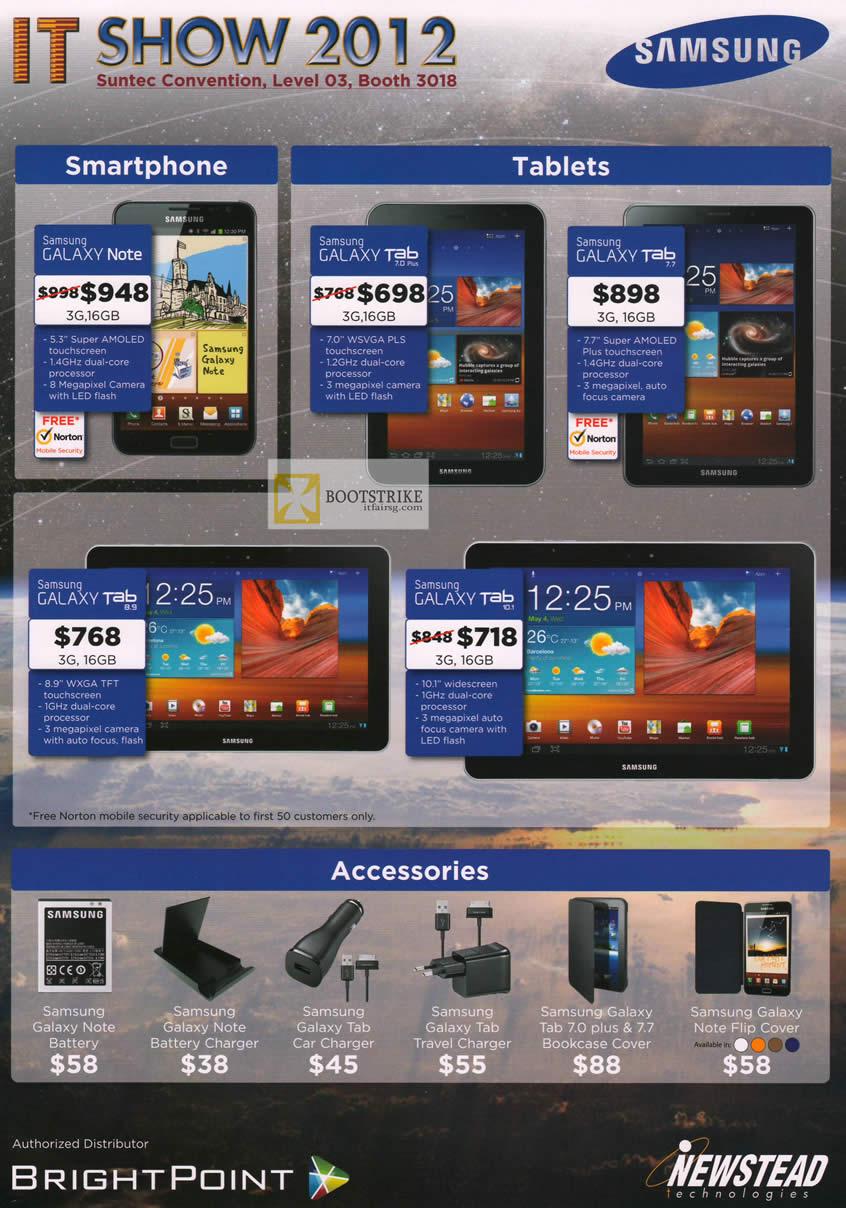 IT SHOW 2012 price list image brochure of Newstead Samsung Mobile Smartphones Galaxy Note, Tab 7.0 Plus, Tab 7.7, Tab 8.9, Tab 10.1, Accessories