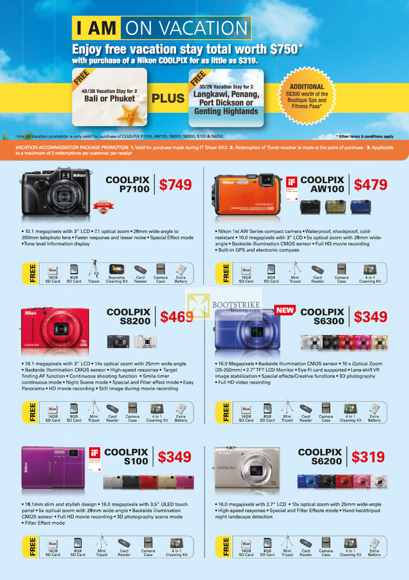 IT SHOW 2012 price list image brochure of Nikon Digital Cameras Coolpix P710, AW100, S8200, S6300, S100, S6200