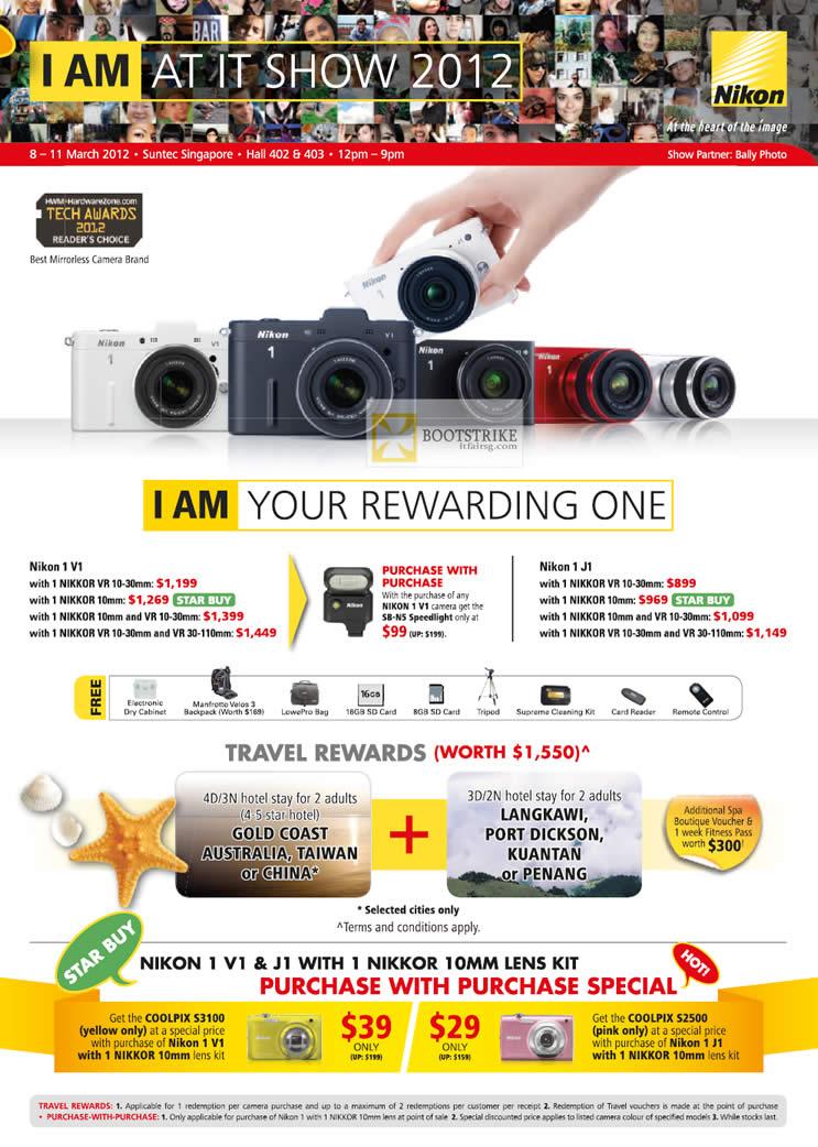 IT SHOW 2012 price list image brochure of Nikon Digital Cameras Nikon 1 V1, Nikon 1 J1, Nikkor 10mm Lens Kit, Vacation
