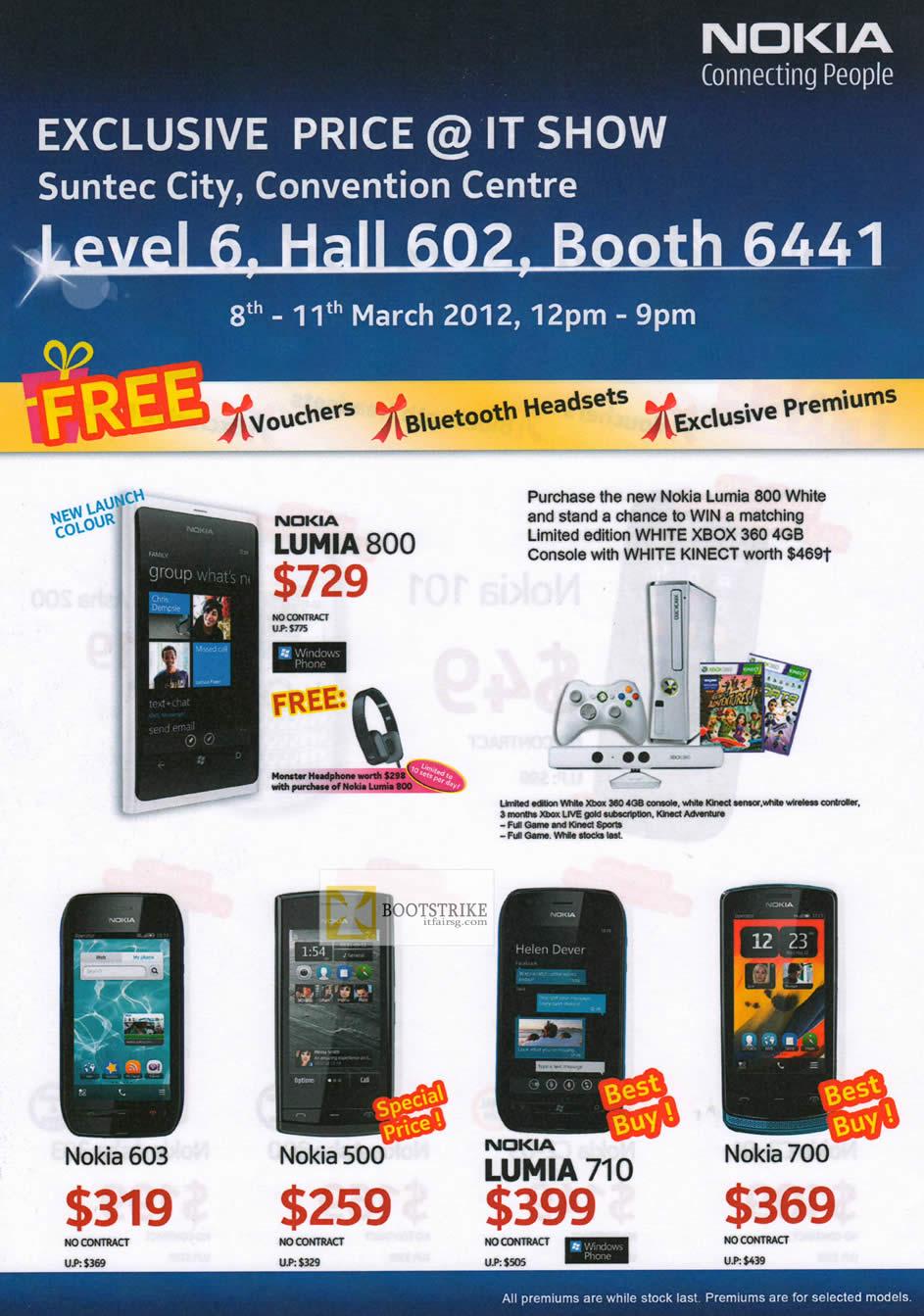 IT SHOW 2012 price list image brochure of Nokia Smartphones Mobile Lumia 800, Nokia 603, Nokia 500, Nukia Lumia 710, Nokia 700