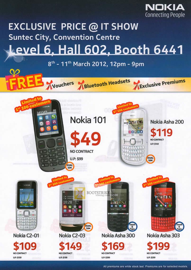 IT SHOW 2012 price list image brochure of Nokia Smartphones Mobile Nokia 101, Asha 200, C2-01, C2-03, Asha 300, Asha 303