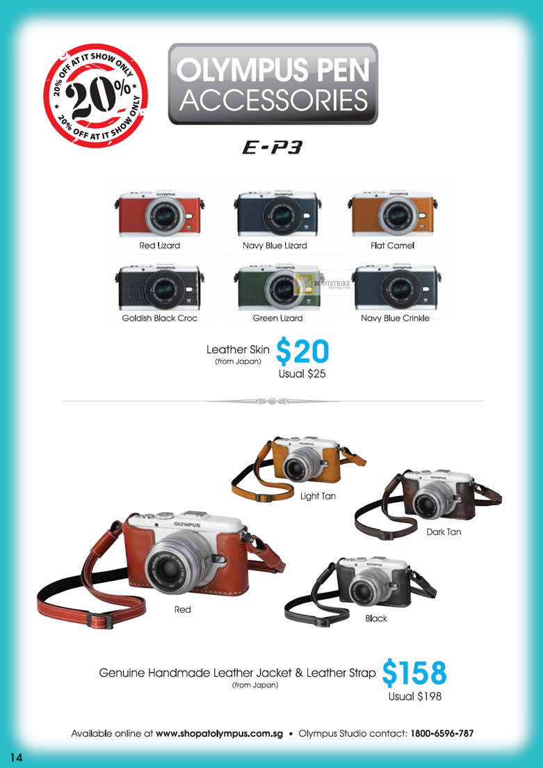 IT SHOW 2012 price list image brochure of Olympus Pen Accessories, Leather Skin, Genuine Handmade Leather Jacket, Leather Strap
