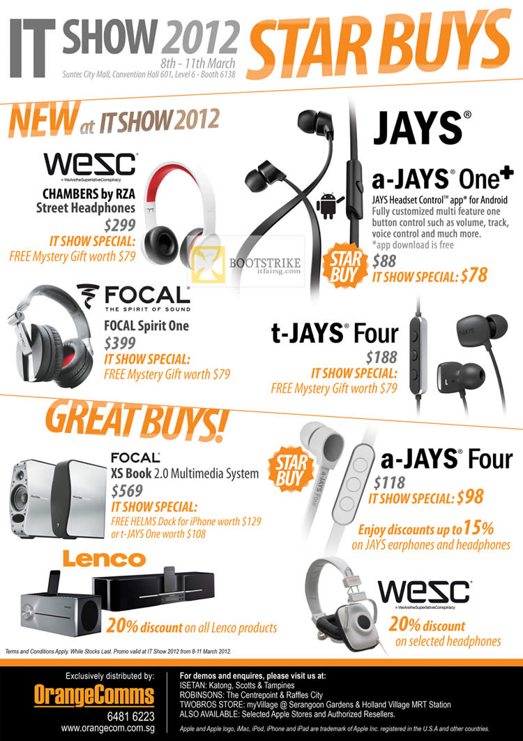 IT SHOW 2012 price list image brochure of Orange Communications Wesc Chambers By RZA Street Headphones, A-Jays One Headset, Focal Spirit One, T-Jays Four, Focal XS Book, Lenco, Wesc