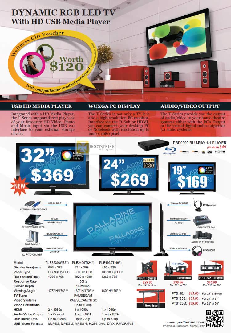 IT SHOW 2012 price list image brochure of Palladine USB Media Player, Blu Ray PBD9000, TV PLE3230W, PLE2400T, PLE1930T, Accessories, Mount, Bracket