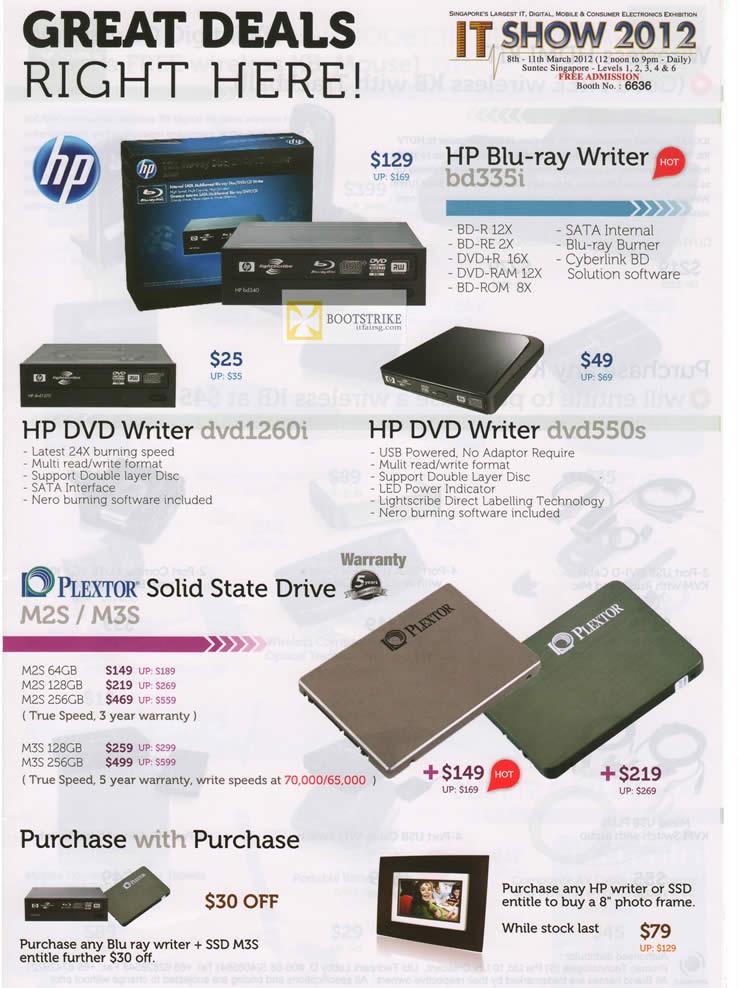 IT SHOW 2012 price list image brochure of Promac HP Blu-Ray Writer Bd335i, DVD Writer Dvd1260i, External Dvd550s, Plextor SSD M2S, M3S