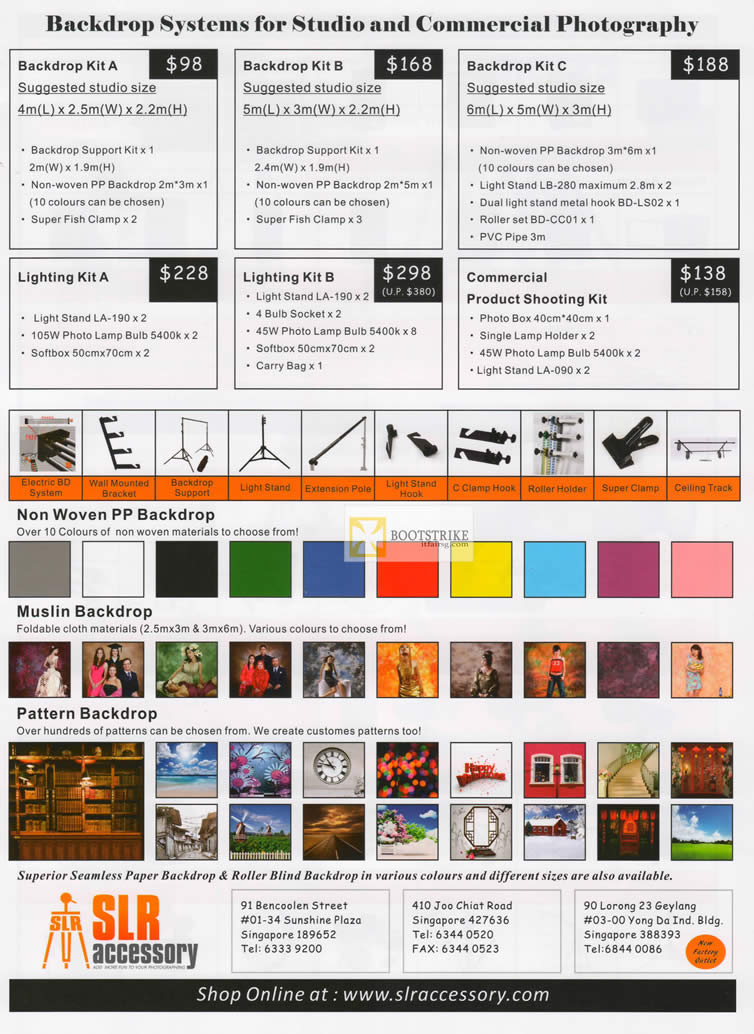 IT SHOW 2012 price list image brochure of SLR Accessory Backdrop Systems Studio Commercial Photography, Lighting, Woven, Pattern
