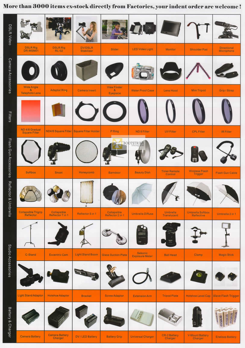 IT SHOW 2012 price list image brochure of SLR Accessory DSLR Accessories, Flash, Filler, Flash Gun, Studio, Battery