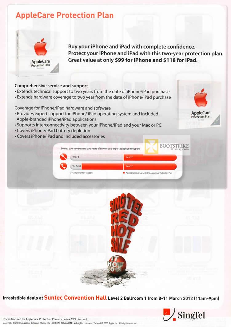 IT SHOW 2012 price list image brochure of Singtel AppleCare Protection Plan