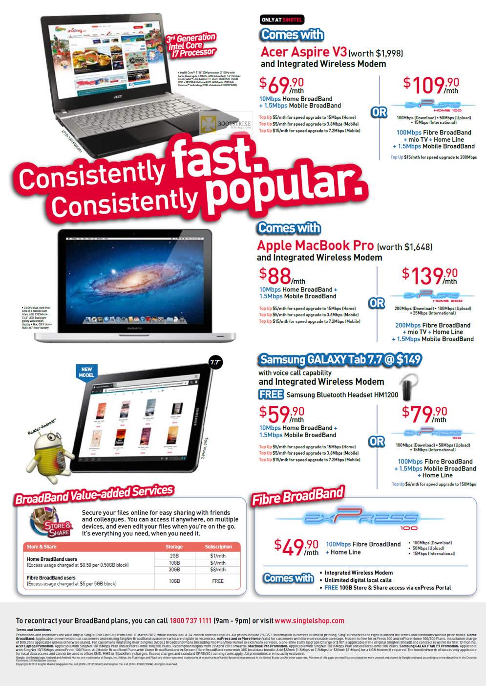 IT SHOW 2012 price list image brochure of Singtel Broadband Acer Aspire V3, Apple Macbook Pro, Samsung Galaxy Tab 7.7, Fibre Express 100