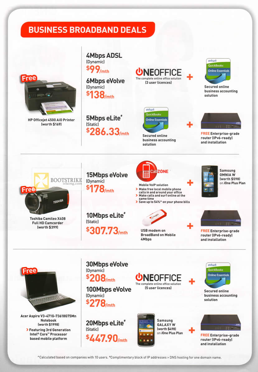 IT SHOW 2012 price list image brochure of Singtel Business Broadband ADSL, EVolve, ELite, Oneoffice