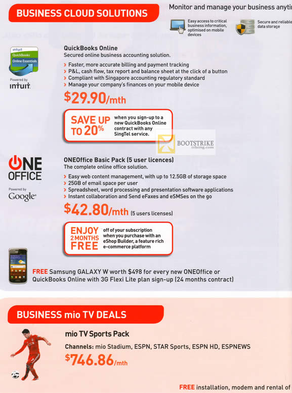 IT SHOW 2012 price list image brochure of Singtel Business Quickbooks Online, Oneoffice Basic Pack, Mio TV Sports Pack
