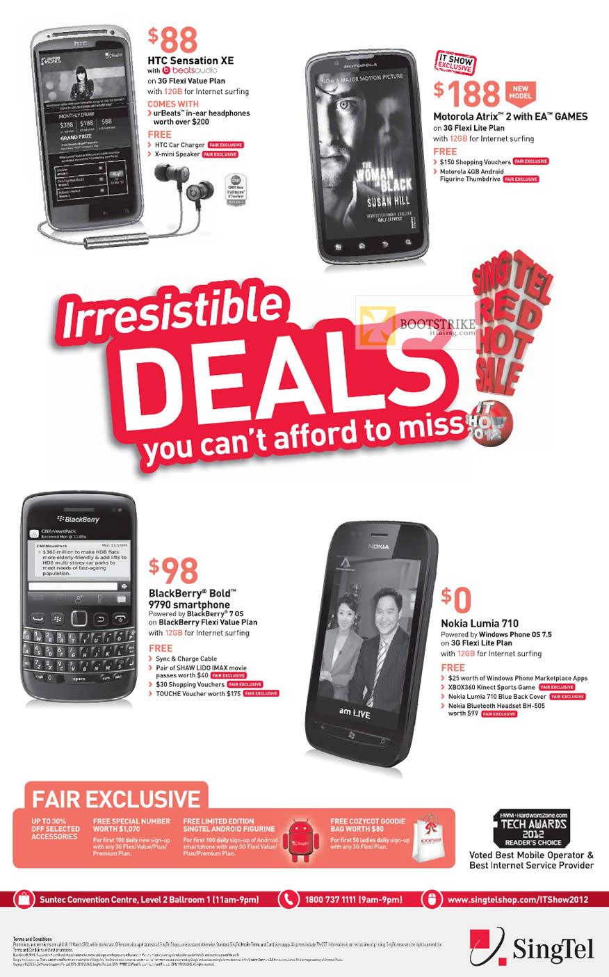 IT SHOW 2012 price list image brochure of Singtel Mobile HTC Sensation XE, Motorola Atrix 2, Blackberry Bold 9790, Nokia Lumia 710
