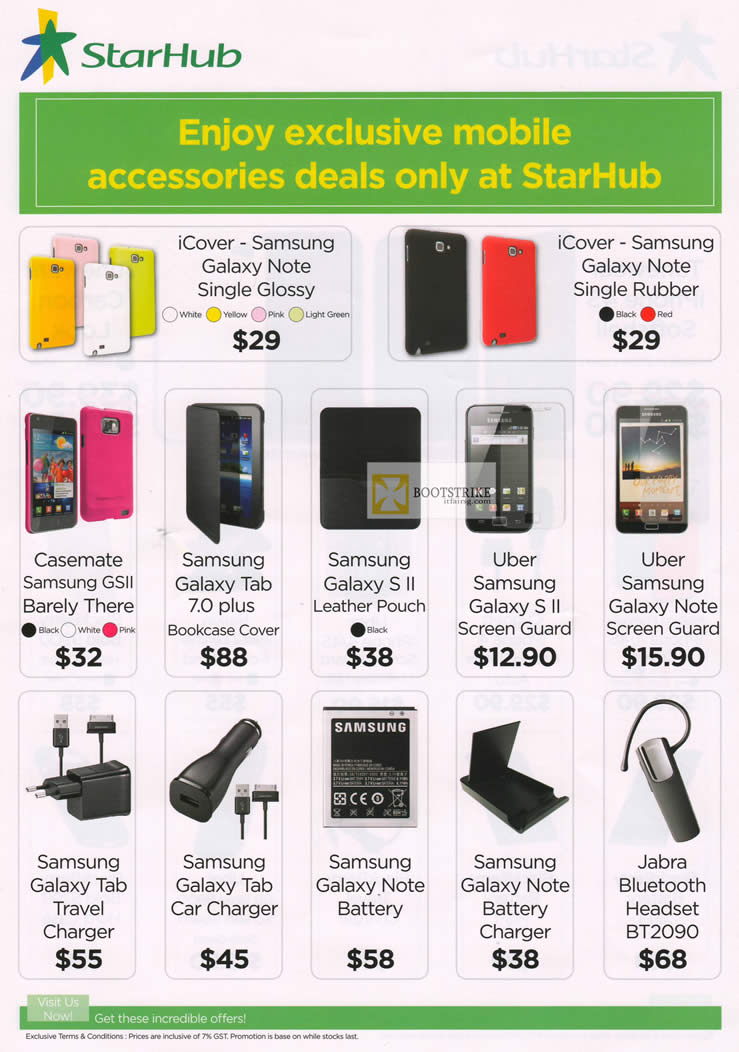 IT SHOW 2012 price list image brochure of Starhub Accessories ICover Samsung Galaxy Note, ICover, Casemate, Uber, Jabra Bluetooth Headset BT2090