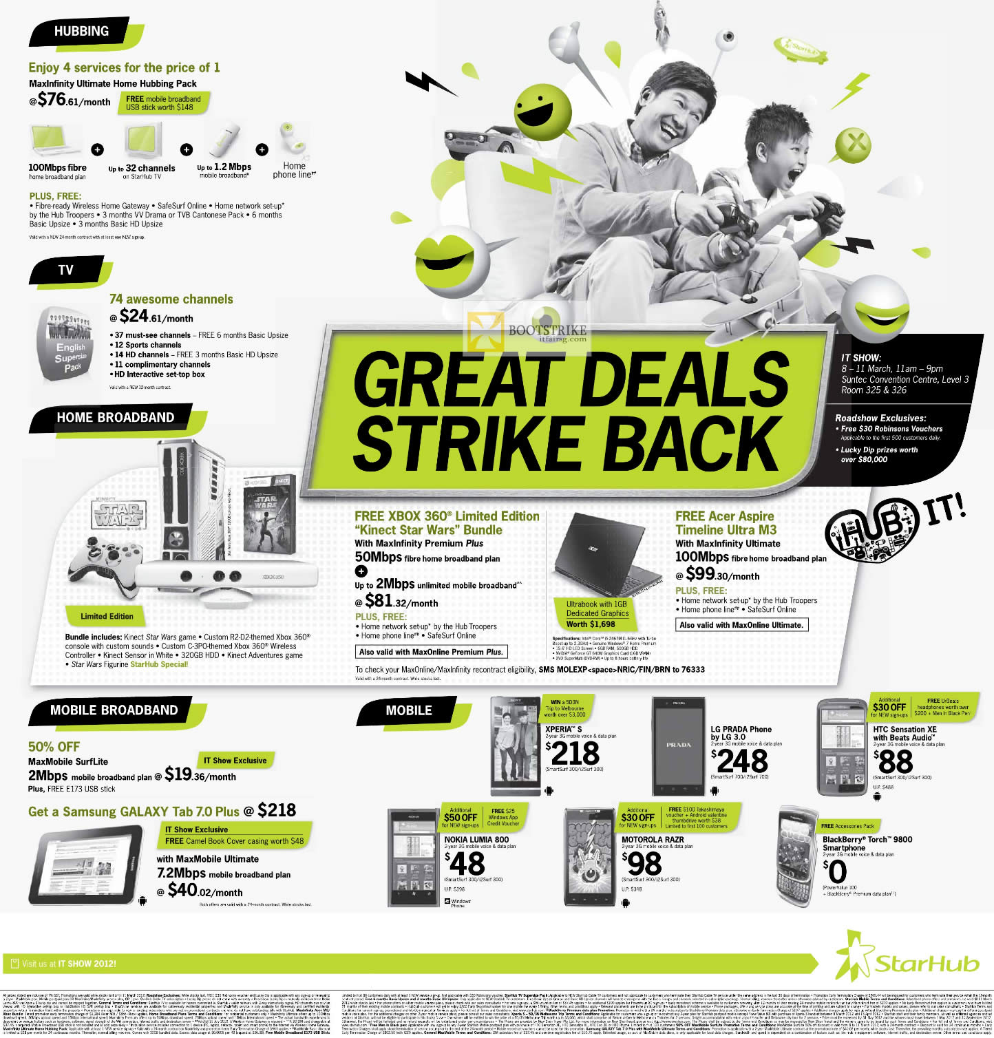 IT SHOW 2012 price list image brochure of Starhub Acer Aspire Timeline Ultra M3, Galaxy Tab 7.0 Plus, Nokia Lumia 800, Xperia S, LG Prada Phone, Motorola Razr, HTC Sensation XE, Blackberry Torch 9800