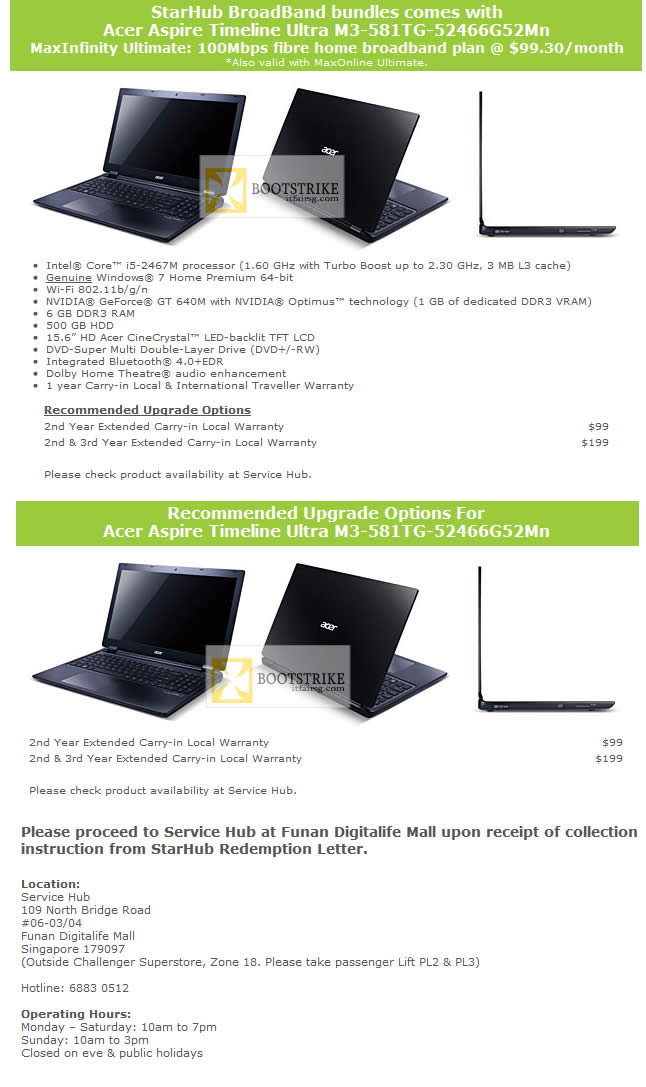 IT SHOW 2012 price list image brochure of Starhub Free Acer Aspire Timeline Ultra M3-581TG-52466G52Mn Notebook Specifications, Upgrades, Redemption