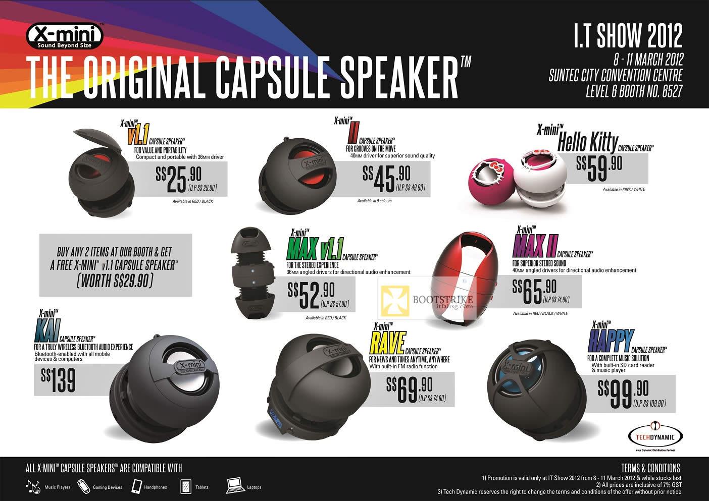 IT SHOW 2012 price list image brochure of Tech Dynamic X-Mini Capsule Speakers V1.1, II, Hello Kitty, Max II, Max V1.1, Kai, Rave, Happy
