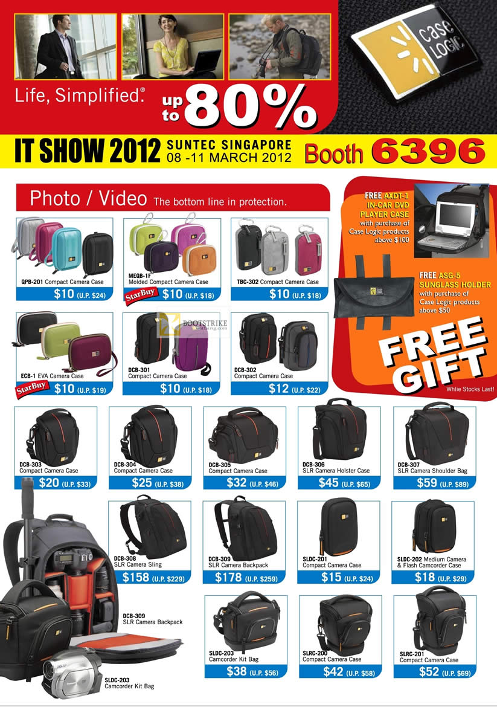 IT SHOW 2012 price list image brochure of The Headphones Gallery Case Logic Bags Photo Video, Camera Case, DSLR Camera Holster Case, Shoulder Bag, Backpack, Camcorder Case