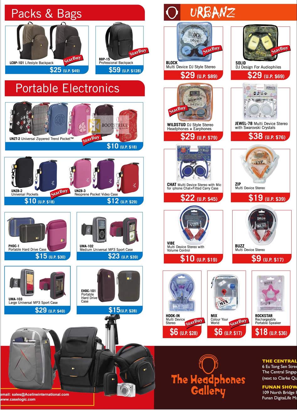 IT SHOW 2012 price list image brochure of The Headphones Gallery Case Logic Packs, Bags LCBP-101, BBP-15, Urbanz, Headphones, Earphones, Portable Speaker, Case, UNZT-2 Universal Zippered Trend Pocket