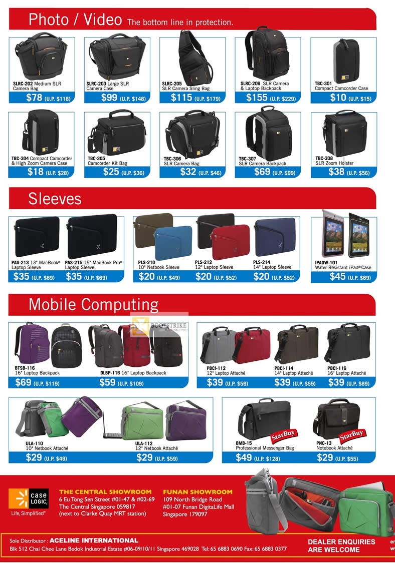 IT SHOW 2012 price list image brochure of The Headphones Gallery Case Logic Photo Video Camera Bags, Case, Sling, Camcorder Case, Notebook Sleeve, IPad Case, Backpack, Attache, Messenger Bag