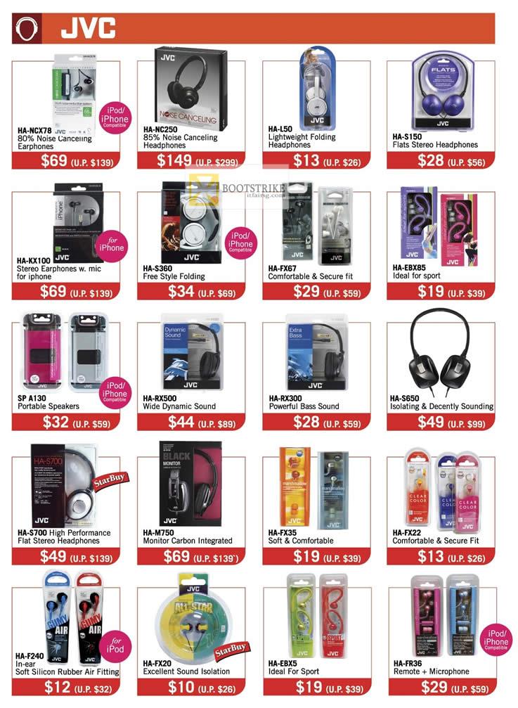 IT SHOW 2012 price list image brochure of The Headphones Gallery JVC Earphones, Headphones, HA-NCX78, HA-NC250, HA-KX100, HA-M750, HA-S360