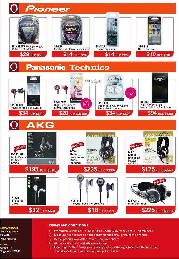 IT SHOW 2012 price list image brochure of The Headphones Gallery Pioneer Headphones, Panasonic, Technics, RP-HJE70 Earphones, AKG K-141 MKII , K-240 Studio, K-171, K-321, K-172HD