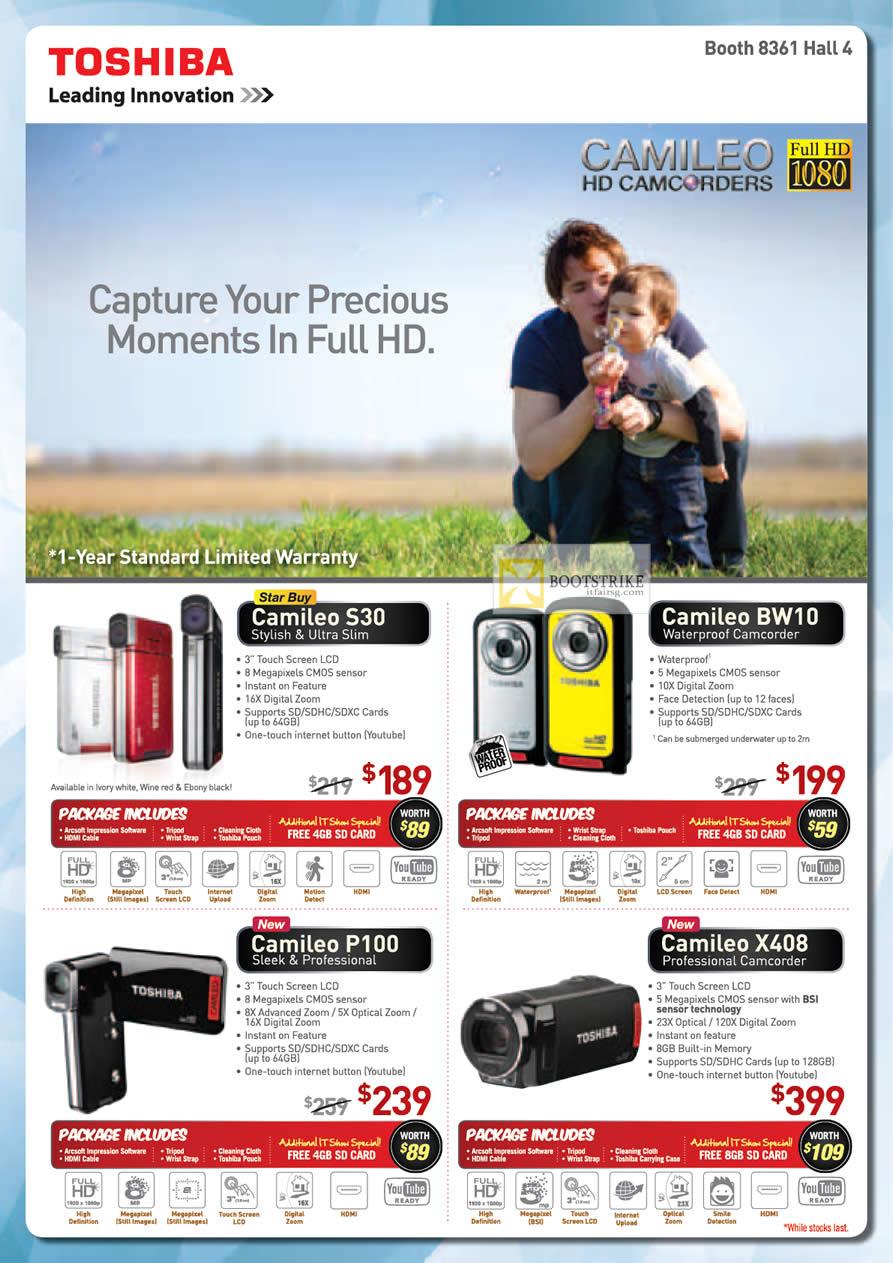 IT SHOW 2012 price list image brochure of Toshiba External Storage Camileo S30, BW10, P100 Video Camcorder, X408