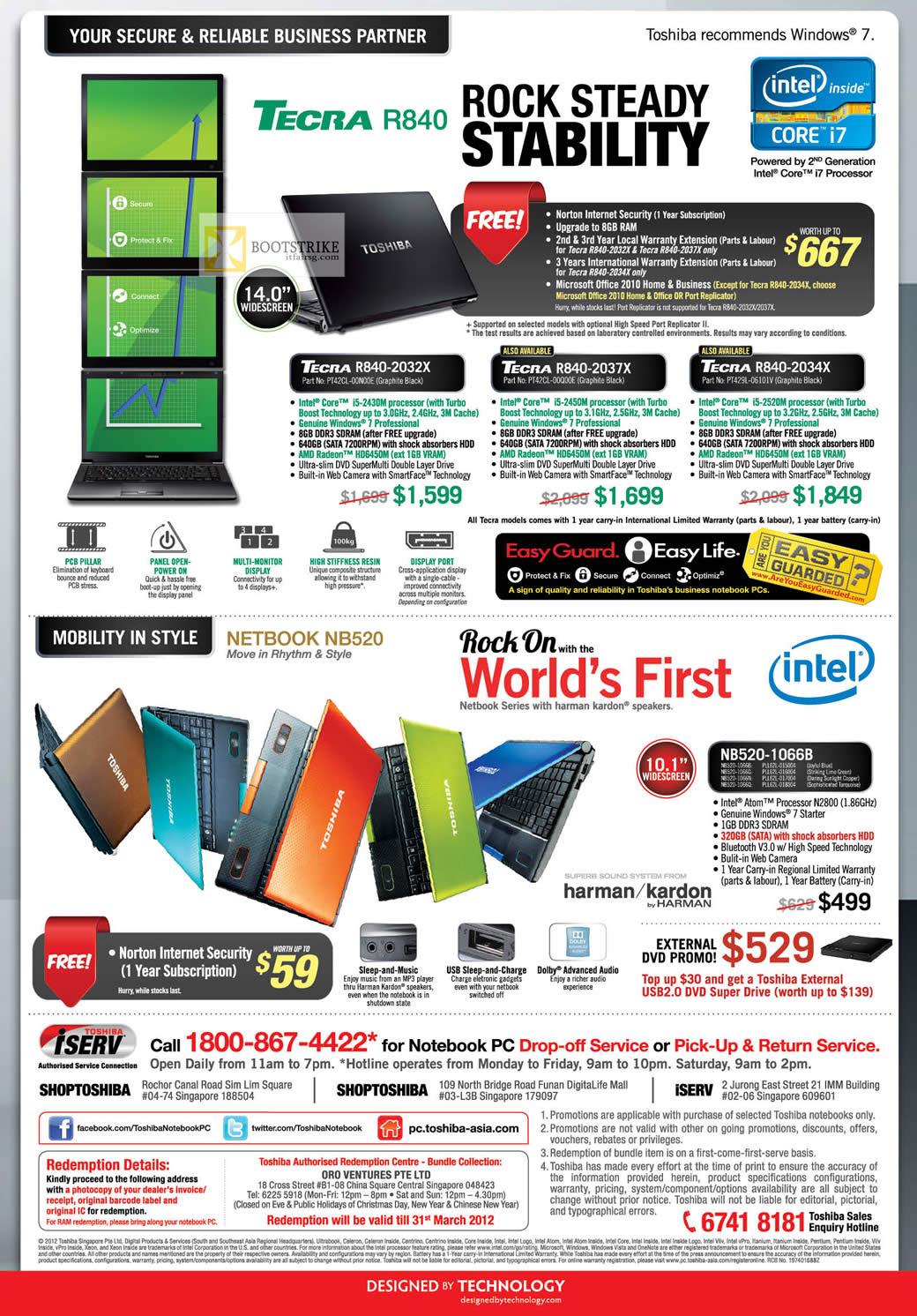 IT SHOW 2012 price list image brochure of Toshiba Notebooks Tecra R840-2032X PT42CL-00N00E, R840-2037X PT42CL-00Q00E, R840-2034X PT429L-06101V, Netbook NB520-1066B
